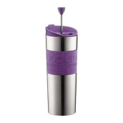 Bodum Stainless Steel 470ml Vacuum Travel Press Coffee Maker with Purple Silicone Grip by Bodum
