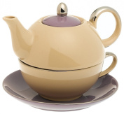 Classic Coffee & Tea Chic Tea Set for One - Teapot, Cup & Saucer in Purple & Taupe Design