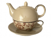 Classic Coffee & Tea Nouveau Chic Tea Set for One - Teapot, Cup & Saucer in Beige & Mocha Damask ; Platinum Trim