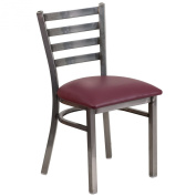Flash Furniture Hercules Series Clear Coated Ladder Back Metal Restaurant Chair with Vinyl Seat, Burgundy
