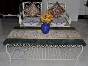 Indian Handmade Floral Design Jacquard Silk Table Decor Runner 150cm X 41cm