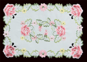Creative Linens 4PCS Embroidered Rose Daisy Floral Placemats 28cm x 43cm White, Set of 4 Pieces