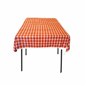 Square Chequered Tablecloth 230cm x 230cm (Orange & White) By Runner Linens Factory