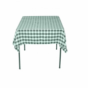 Square Chequered Tablecloth 230cm x 230cm (Hunter Green & White) By Runner Linens Factory