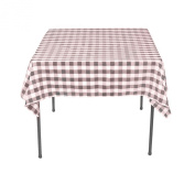 Square Chequered Tablecloth 230cm x 230cm (Pink & White) By Runner Linens Factory