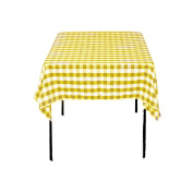 Square Chequered Tablecloth 230cm x 230cm (Lt Yellow & White) By Runner Linens Factory