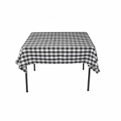 Square Chequered Tablecloth 230cm x 230cm (Black & White) By Runner Linens Factory