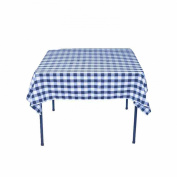 Square Chequered Tablecloth 210cm x 210cm (Royal & White) By Runner Linens Factory