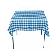 Square Chequered Tablecloth 210cm x 210cm (Turquoise & White) By Runner Linens Factory
