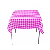 Square Chequered Tablecloth 210cm x 210cm (Hot Pink & White) By Runner Linens Factory