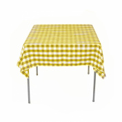 Square Chequered Tablecloth 210cm x 210cm (Yellow & White) By Runner Linens Factory