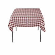 Square Chequered Tablecloth 210cm x 210cm (Burgundy & White) By Runner Linens Factory