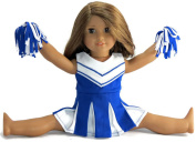 Blue Cheerleader Outfit for 46cm Dolls such as American Girl 3 Piece Set