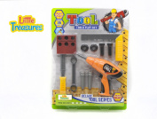 Little Treasures 9 piece Junior Deluxe tool series tool play set with working friction drill toy - My little fixer man toy set