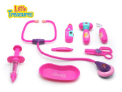 Doctor Set - a wonderful toy collection for little kids, pink-themed medical tools include a thermometer, stethoscope, syringe, forceps and scissors and reflecting mirror all packaged in a handy case