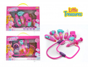 Little Treasures Doctor set - collection of colourful medical tools, designed for preschooler girls, comes with electronic stethoscope, digital toy thermometer and b.p. monitor, mirror and scissors.