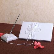 KateMelon Wedding Accessories Lace Butterfly Guest Book and Pen, White, Set of 2