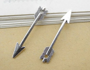 100 PC Silver Tone Tibetan Arrow Charm Pendants 30x5mm, Jewellery Making DIY Steampunk