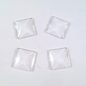 50 Deanna's Supply Shop Square dome Glass Cabochons - 1 inch - 25mm - Clear square dome Cabs - 1