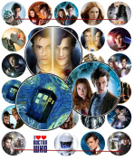 60 Precut 2.5cm DOCTOR WHO Bottle Cap Images A
