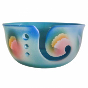 Springtime Yarn Storage Bowl by Award-Winning Artist Judith Stiles. Handcrafted Pottery Knitting Bowl, Handmade From Durable Pottery, Fits 3 Balls. Gift for Knitters. Made in the USA.