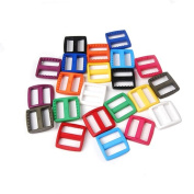 "25pcs 1""(25mm) Webbing Colourful Plastic Slider Tri Glide Adjust Buckles for Dog Collar Harness Backpack Straps FLC080"