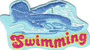 """""""SWIMMING"""" w/SWIMMER/Iron On Embroidered Patch/Swimming, Sports, Words, Swimmer"""