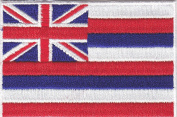 HAWAII STATE FLAG PATCH - HAWAIIAN - U. S. STATE - IRON ON EMBROIDERED APPLIQUE