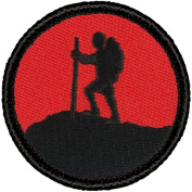 Retro Red and Black Mountaineer Silhouette Patrol Patch - 5.1cm Round