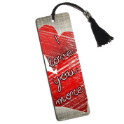 I Love You More with Hearts Printed Bookmark with Tassel
