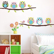Soledi New Cute DIY Removable Colourful Six Owls Bird Branch Vinyl Decal PVC Wall Mural Sticker Poster Home Room Decor