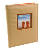 BorderTrends Beach 80-Pocket Rattan Cover Photo Album, Orange