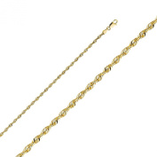 14k Yellow Gold SOLID 3mm Diamond Cut Rope Chain Necklace Bracelet with Lobster Claw Clasp - 8""