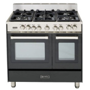 Verona VEFSGE365NDE 90cm Double Oven Dual Fuel Range with 5 Sealed Gas Burners 0.07cbm Oven Capacity Quiet Hinge Storage Drawer Electronic Ignition Digital Clock and Timer In