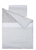 Vizaro - Duvet Cover Bedding Set for COT BED 70x140 cm - 100% Premium Quality Luxury Cotton - Polka Dots & Stripes - White & Grey Colours - Tested against harmful substances - Made in EU