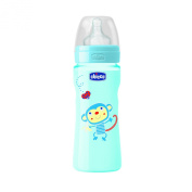 Chicco 00070723210000 Well-Being Baby Bottle Coloured, 2m+ Silicone, 1 Slit, Adjustable Teat, For Boys, 250 ml