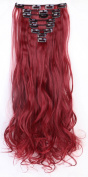 S-noilite® 60cm Curly Maroon mix Dark Red Full Head Hairpiece Clip in Hair Extensions 8 Piece 18 Clips New Products Trendy Design Fashion Women Choice