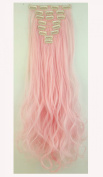 "S-noilite . 24""(61cm) Full Head Clip in Hair Extensions 8 Piece 18clips Curly Light Pink"