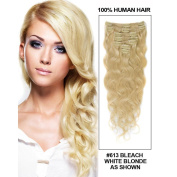 Sunny 60cm 10pcs Full Head Clip in Human Hair Extension Bleach Blonde(Col 613) Body Wave Real Remy Hair Extensions 130gram/Set