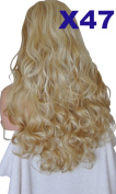 WIG FASHION 60cm Ladies 3/4 Half Fall Wig - Sexy Long Layered Curly Wavy Style - BLONDE HIGHLIGHTS #14/16 - Heat Resistant Synthetic - Clip In Hair Piece Women Extension X47