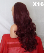 WIG FASHION 60cm Ladies 3/4 Half Fall Wig - Sexy Long Layered Curly Wavy Style - PLUM RED #99J - Heat Resistant Synthetic - Clip In Hair Piece Women Extension X16