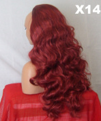 WIG FASHION 60cm Ladies 3/4 Half Fall Wig - Sexy Long Layered Curly Wavy Style - RED MIX BURGUNDY - Heat Resistant Synthetic - Clip In Hair Piece Women Extension X14
