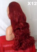 WIG FASHION 60cm Ladies 3/4 Half Fall Wig - Sexy Long Layered Curly Wavy Style - INTENSE RED - Heat Resistant Synthetic - Clip In Hair Piece Women Extension X12