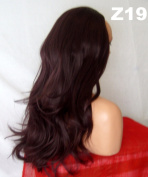 WIG FASHION 60cm Ladies 3/4 Half Fall Wig - Sexy Long Layered Flick Wavy Style - BLACK PLUM - Heat Resistant Synthetic - Clip In Hair Piece Women Extension Z19