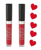 NYC Expert Last Lip Lacquer - 500 Rockaway Ruby (2 Pack) - Perfect for Valentines Day