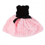 46cm Doll Clothes Strapless Fluffy Cute Dress Fit American Girl Doll Black and Pink