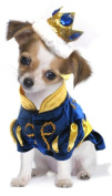 Dog Fancy Dress Costume. Little Prince in Blue Velvet with Gold Crown. Size 25cm