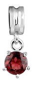 925 Sterling Silver Red Garnet Bead Lina in Nena, Compatible for Pandora Bead Bead Chains and Bracelets As Many Popular, 718012-002
