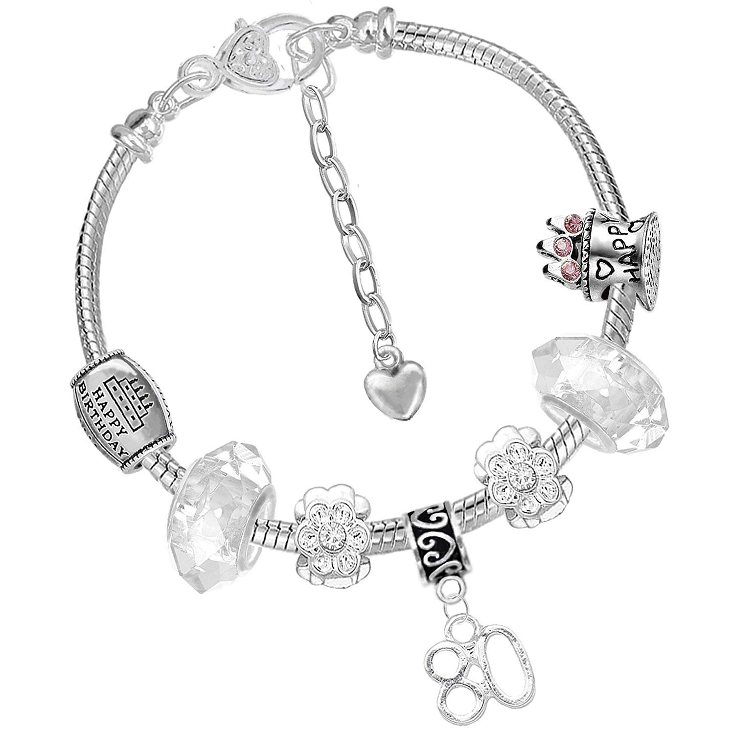 Ladies 80th Birthday Silver Crystal Charm Bracelet Gift Box And