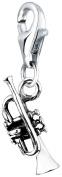 Trumpet NENALINA Charm Pendant in 925 Sterling Silver for Bracelet, Necklace, Earrings, Bracelet and many standard finish triple loop carrier 713116-000
